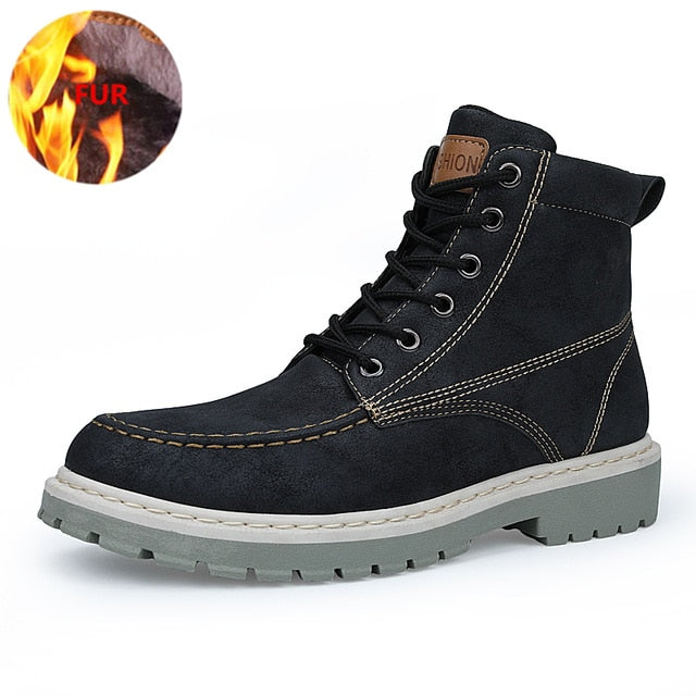 habazoo - YEINSHAARS Boots Men Super Warm High Quality Winter Leather Shoes Leisure Skid Boots Retro Men Lace Up Sneaker Casual Shoes - Habazoo -