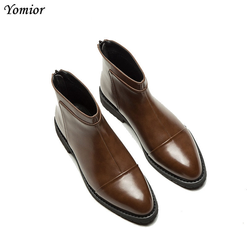 Yomior Autumn Winter Fashion Pointed Toe Men Shoes Casual Business Ankle Boots England High Quality Real Leather Chelsea Boots