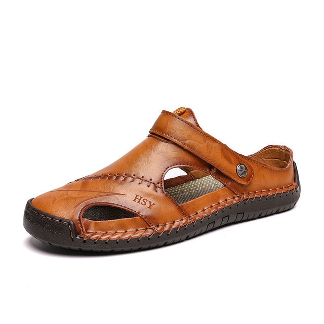 New Casual Men Soft Sandals Comfortable Men Summer Leather Sandals Men Roman Summer Outdoor Beach Sandals Big Size 38-48 - Habazoo