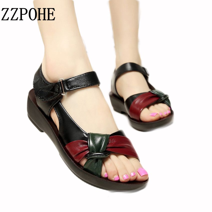 habazoo - Mother shoes flat sandals women aged leather Soft bottom mixed colors fashion sandals comfortable old shoes - Habazoo -