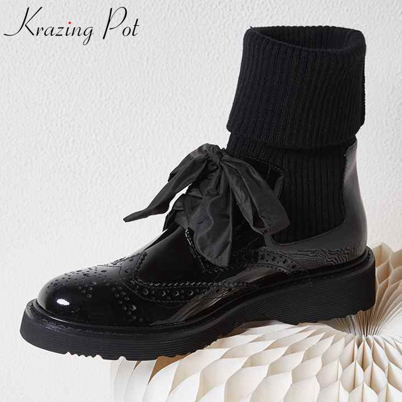 krazing pot 2019 genuine leather European design med heel Winter round toe fashion runway stretch knitting block ankle boots l98