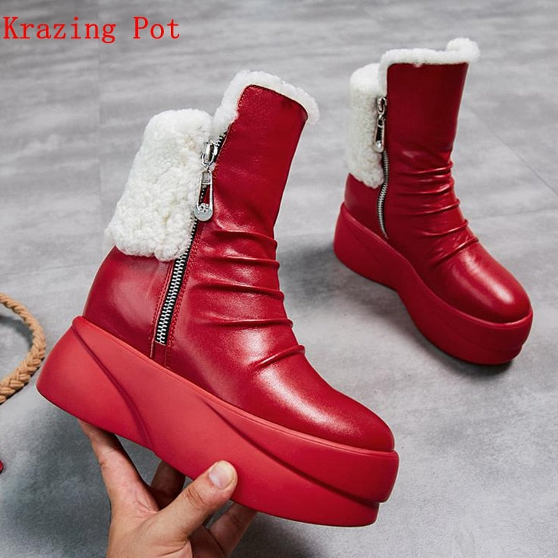 krazing pot 2019 genuine leather round toe sheep fur luxury wedges high heels snow boots European increasing mid-calf boots L18