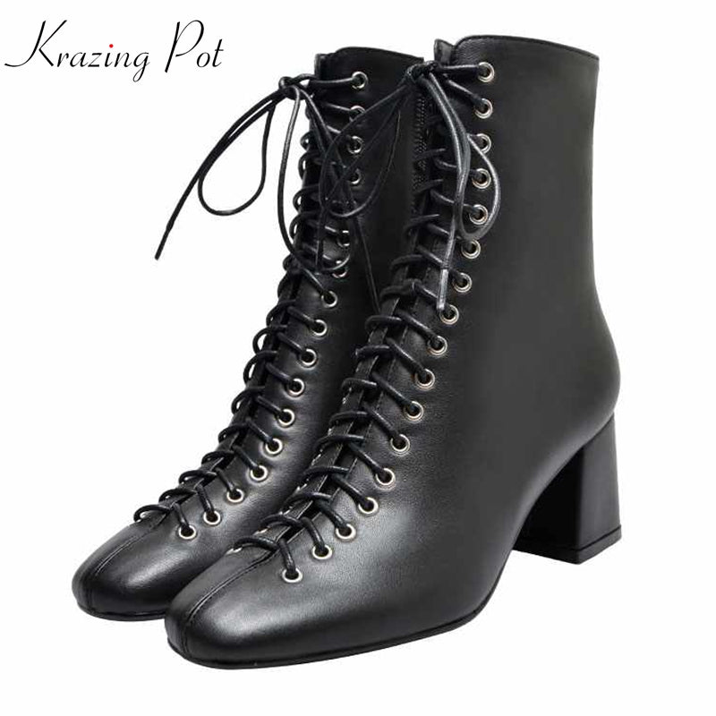 krazing pot genuine leather Winter square toe lace up rivets cross-tied runway streetwear online star Chelsea ankle boots l68