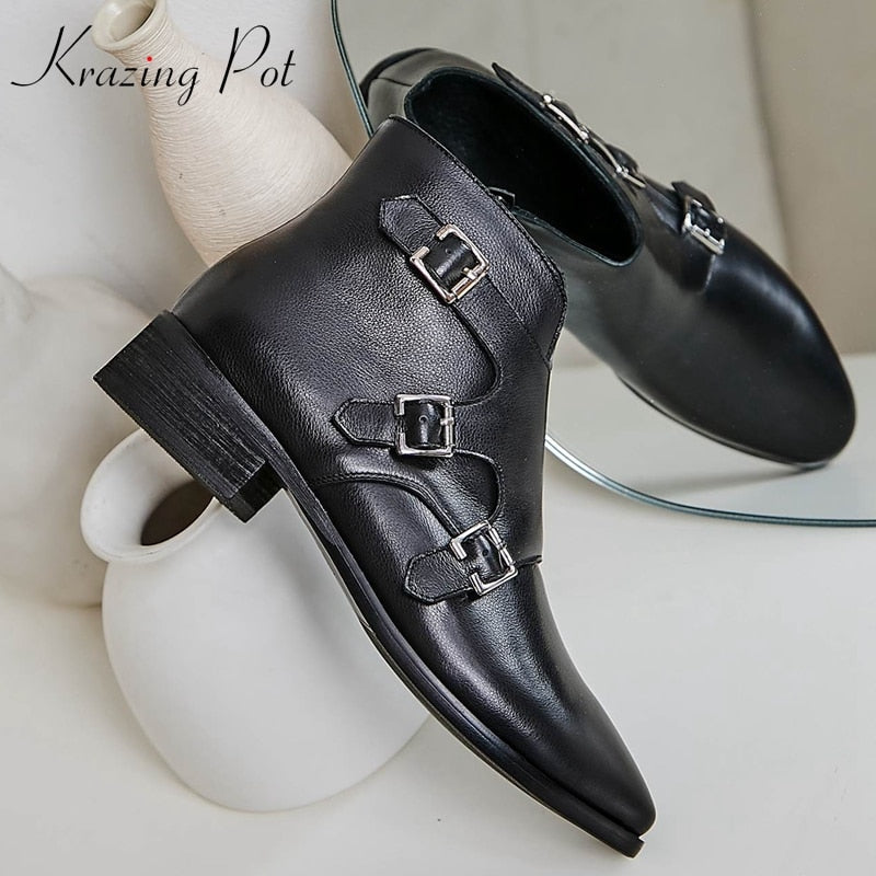 krazing pot new fashion cow leather zipper leisure med heels buckle decoration basic design big size solid color ankle boots l04