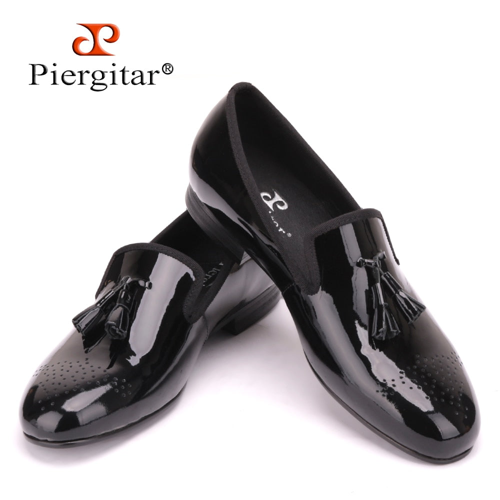 order release info on classic shoes Black Patent Leather Men Dress Shoes with Tassel Plus Size Men Loafers