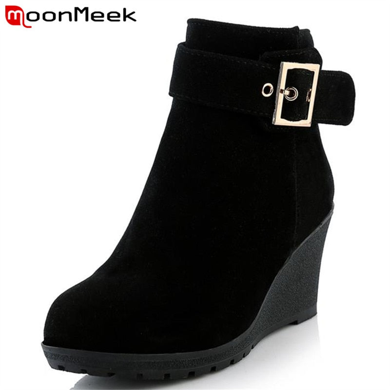 habazoo - MoonMeek New arrive hot sale high heels wedges winter boots fashion women shoes skid resistance zip buckle platform ankle boots - Habazoo -
