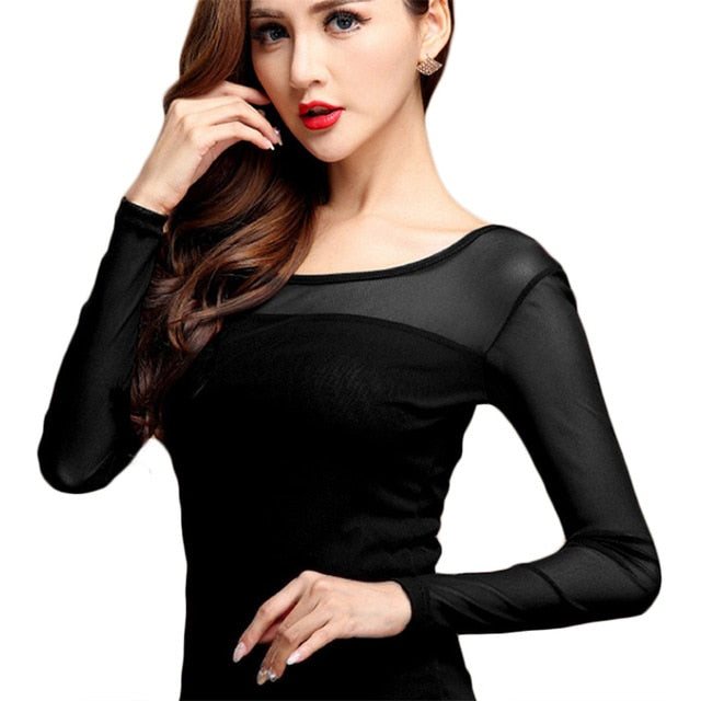 habazoo - New Women Blouse Shirt Black White Sexy Long Shirt Casual Long Sleeve Lace Blouse Under Shirts Hollow Tops Plus Size - Habazoo -