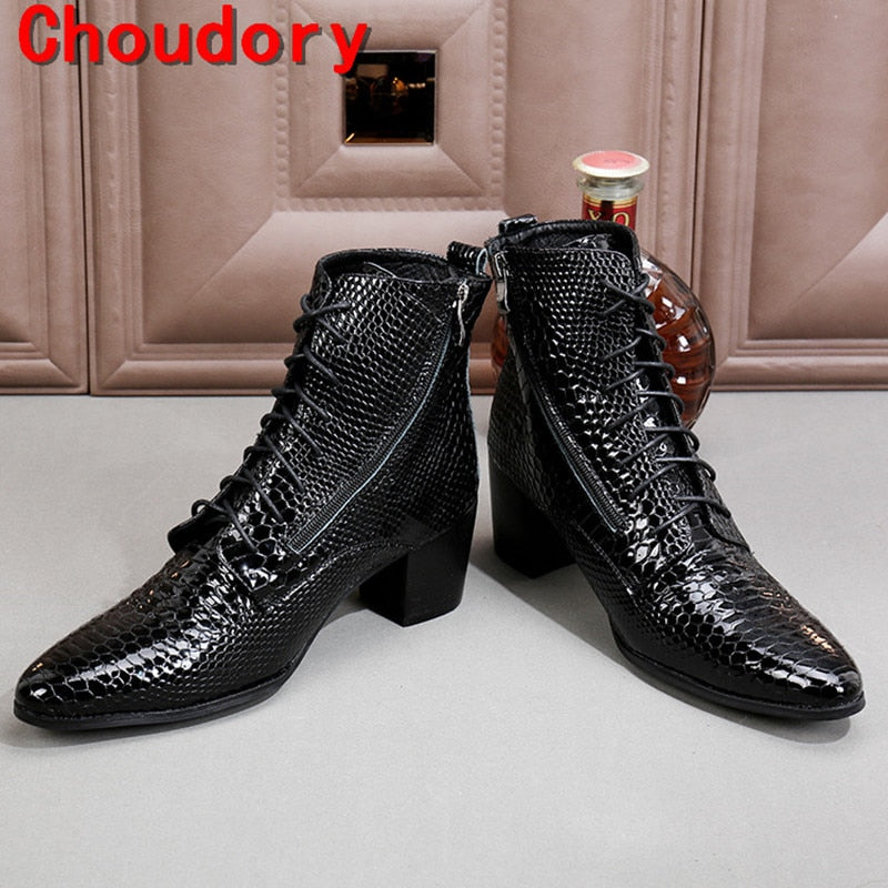 habazoo - black military boots chelsea men shoes high heels python skin genuine leather cowboy boots - Habazoo -