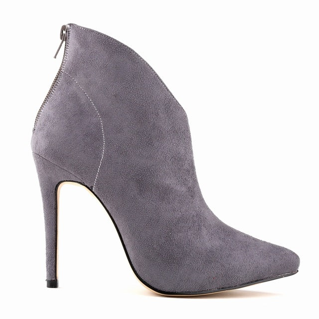 habazoo - Flock Zipper Women Boots Velvet Sexy Pointed Toe High Heels Shoes Winter Stiletto Ankle Boots Size 35-42  769-1VE - Habazoo -