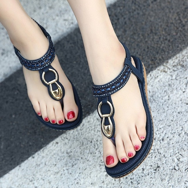 habazoo - new women Bohemia Flat sandals shoes woman String Bead flip flop Metal Decoration beach sandals casual shoes size 35-45 - Habazoo -