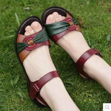 habazoo - summer new fashion Woman sandals mother large size Flat leather Sandals slip comfort elderly Soft bottom sandals - Habazoo -