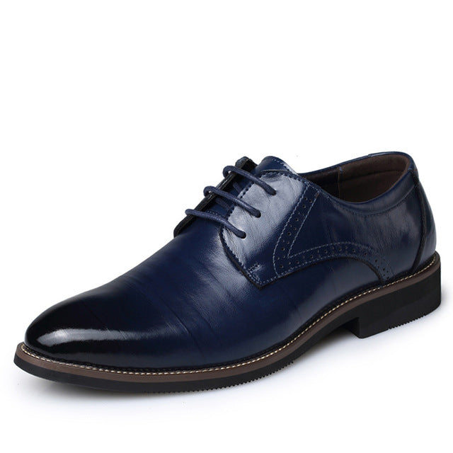 habazoo - Oxfords Leather Men Shoes Fashion Casual Pointed Top Formal Business Male Wedding Dress Flats - Habazoo -