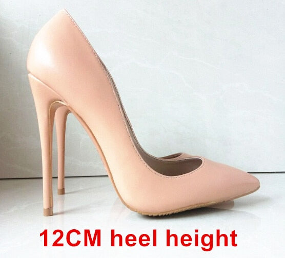 habazoo - High Heels Women Shoes Pumps Stilettos Shoes For Women Black High Heels 12CM PU Leather Wedding Shoes - Habazoo -