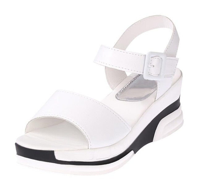 habazoo - Summer shoes woman Platform Sandals Women Soft Leather Casual Open Toe Gladiator wedges - Habazoo -