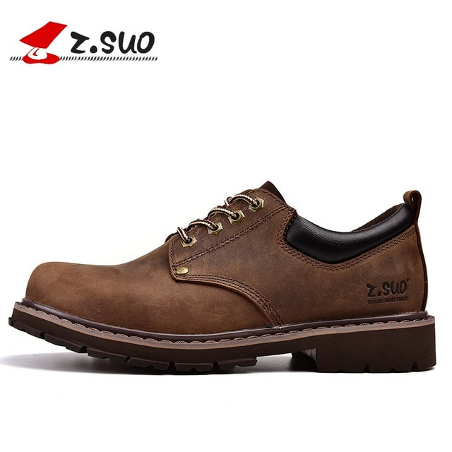 habazoo - men 's shoes, leather casual shoes, spring and summer man pure retro leather mad cow shoes. - Habazoo -