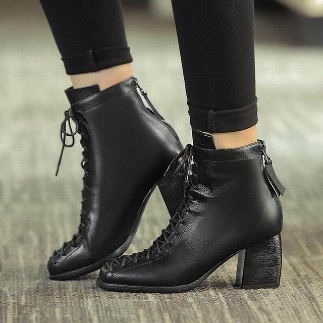 habazoo - Fashion square toe lace-up genuine leather solid nude women ankle boots thick heel brand women shoes causal motorcycles boot L74 - Habazoo -