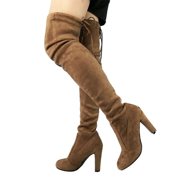 habazoo - Top Faux Suede Women Thigh High Boots Stretch Slim Sexy Fashion Over the Knee Boots Female Shoes High Heels - Habazoo -