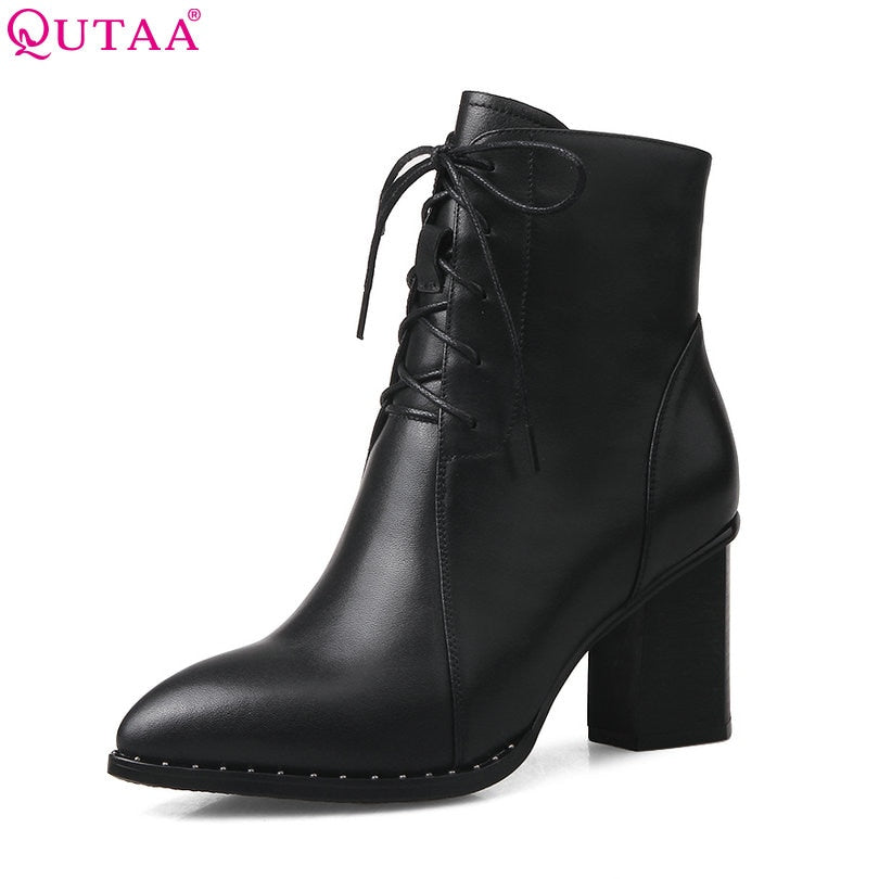 habazoo - Women Ankle Boots Square High Heel Lace Up Pointed Toe Genuine Leather Women Motorcycle Boots Size 33-42 - Habazoo -