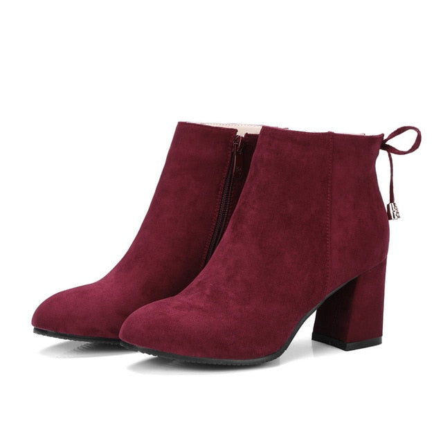 habazoo - Short Plush Women Boots Flock Round Toe Square High Heels Autumn Spring Ankle Boots Ladies Solid Boots Size 34-43 - Habazoo -