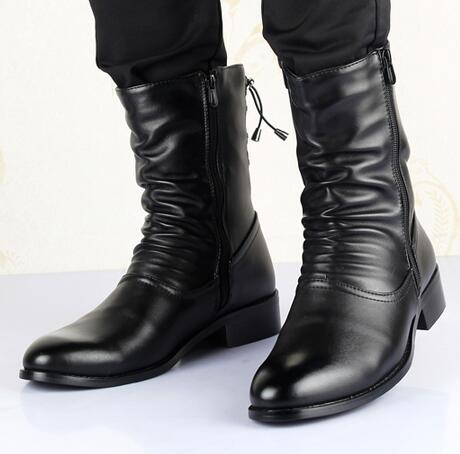 habazoo - Pointed Toe British style Men Mid-Calf boots Genuine leather Warm - Habazoo -