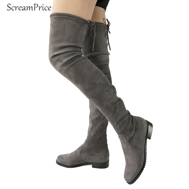 Thigh High Flat Boots Women Over the Knee Boots - Habazoo