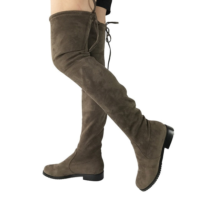 habazoo - Thigh High Flat Boots Women Over the Knee Boots - Habazoo -