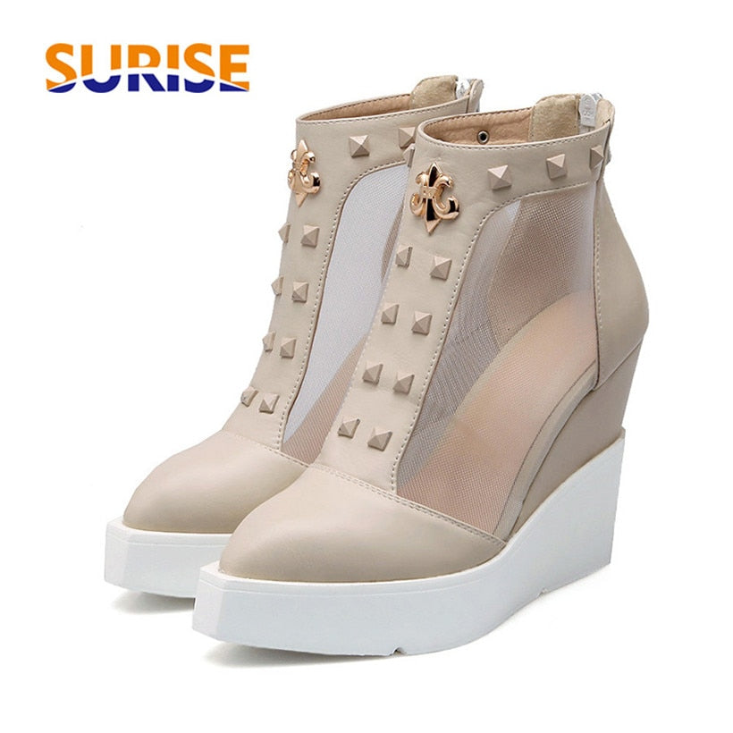 habazoo - Summer High Heels Wedge Platform Women Short Boots PU Leather Mesh Pointed Toe Casual Party Punk Rivet Zipper Ladies Ankle Boots - Habazoo -