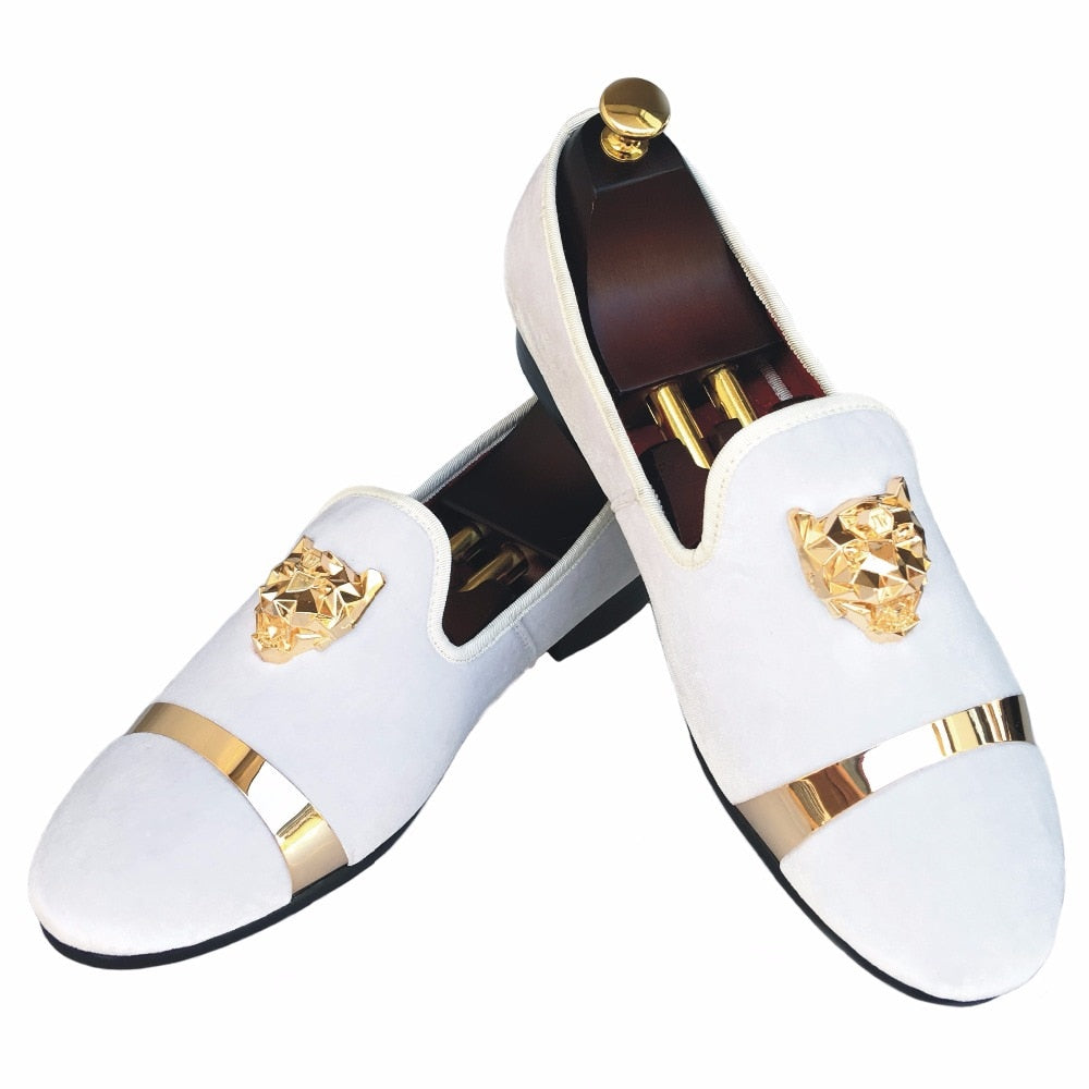 habazoo - Men Velvet Loafers Shoes White Slippers with Gold Buckle Wedding and Party Dress Shoes Red Bottom Flats Size 7-13 - Habazoo -