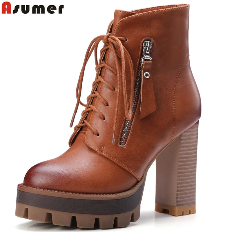 habazoo - women boots lace up platform winter boots soft pu leather thick high heels ankle boots female shoes - Habazoo -