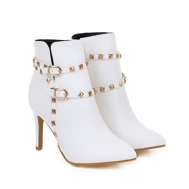 habazoo - Women Ankle Boots Rivets High Heel Shoes Ladies White Boots Winter Zipper Buckle Pointed Toe Handmade Shoes - Habazoo -
