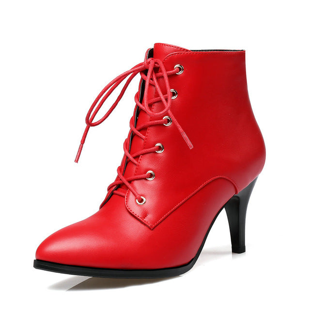 habazoo - Women Ankle Boots Lace Up Pointed Toe Pu Leather Thin High Heel All Match Women Fashion Ankle Boots Size 34-43 - Habazoo -
