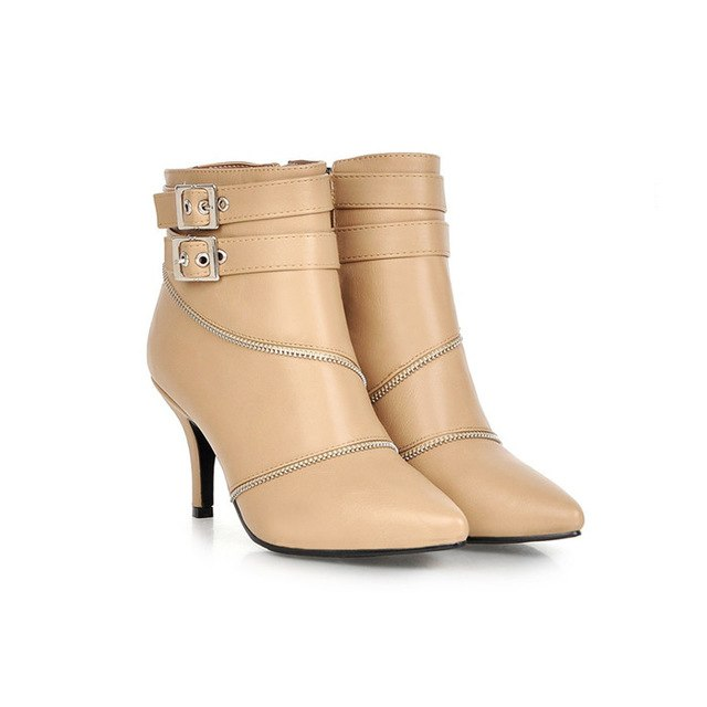 habazoo - Women Ankle Boots Pointed Toe Buckle High Heel Boots Sexy Ladies Winter Boots Apricot White Plus Size 42 43 - Habazoo -