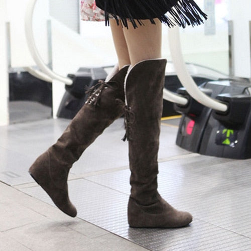habazoo - Faux Suede Over the Knee Flat Warm Boots Comfortable Thigh High Boots Lace-up - Habazoo -