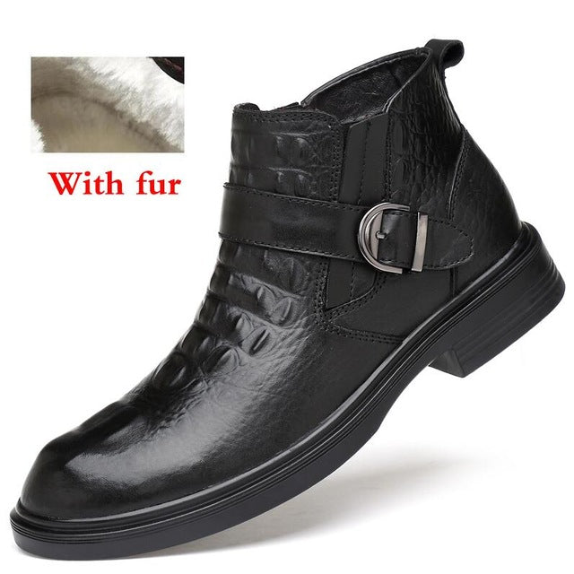 leather Warm Fur Winter Shoes Handmade Plus Size - Habazoo