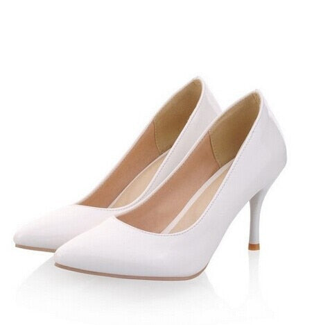 habazoo - Big Size 34-45 New Fashion high heels women pumps thin heel classic white red nude beige sexy prom wedding shoes - Habazoo -