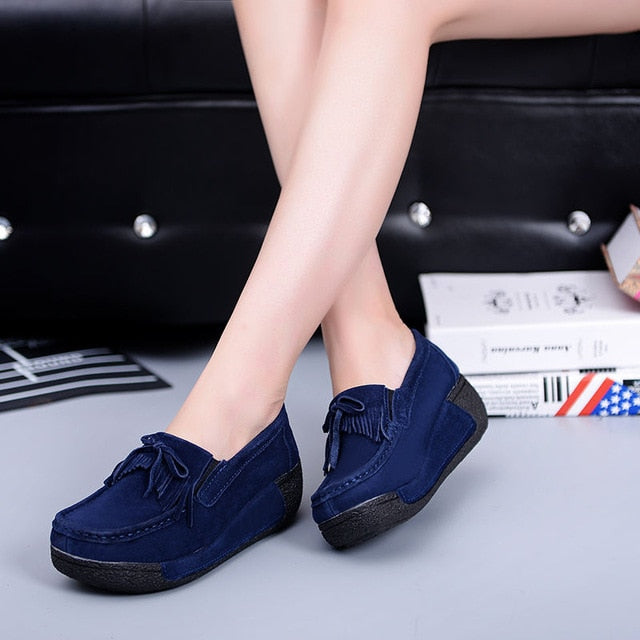 habazoo - Platform Loafers Ladies Elegant Suede Moccasins Fringe Shoes Woman Slip On Casual Shoes - Habazoo -