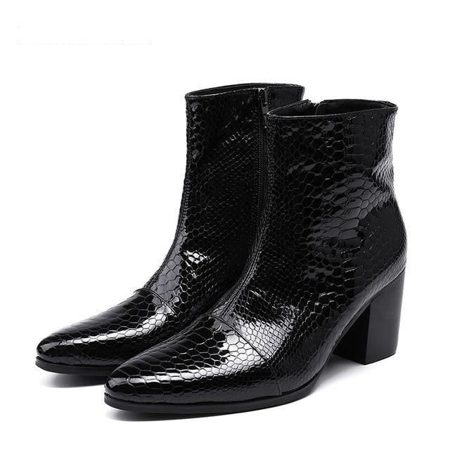 habazoo - 7CM High Heels Men Boots Pointed Toe Black Leather Boots Men Handsome Ankle Boot - Habazoo -