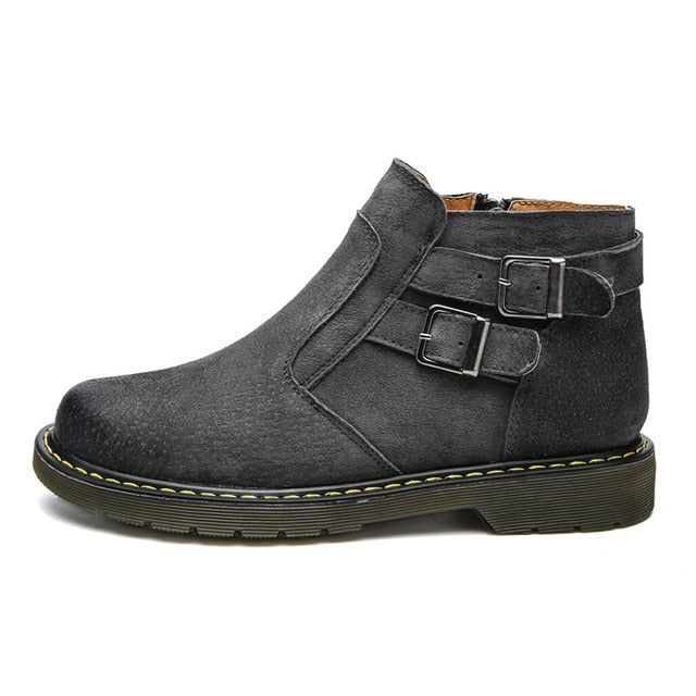 habazoo - Men's leather ankle boots buckle decoration zip - Habazoo -
