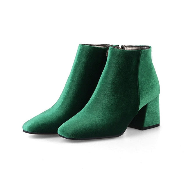 habazoo - Velvet Boots Women Ankle Boots High Heels Short Boots Zipper  Brand Luxury Block Heel Shoes Green Big Size 12 33-46 - Habazoo -