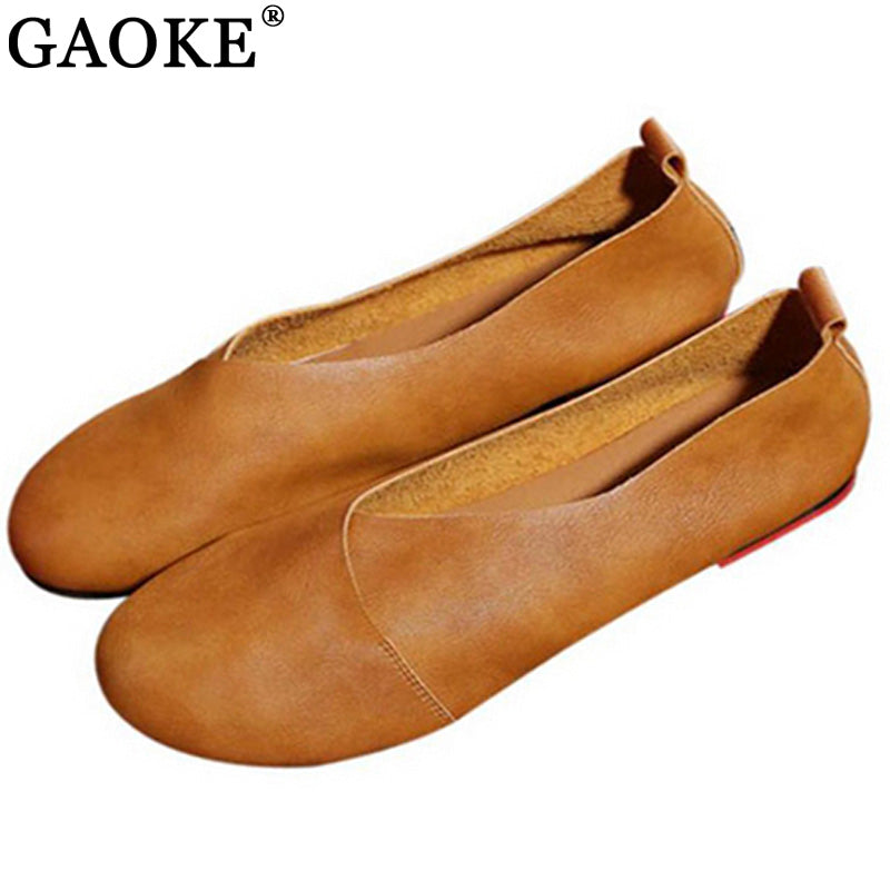 habazoo - Hand-sewn Leather Loafers Cowhide Flexible Spring Casual Shoes Women Flats Women Shoes - Habazoo -