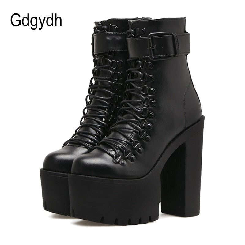 habazoo - Fashion Motorcycle Boots Women Leather Spring  Metal Buckle High Heels Shoes Zipper Black Ankle Boots Woman Lacing - Habazoo -
