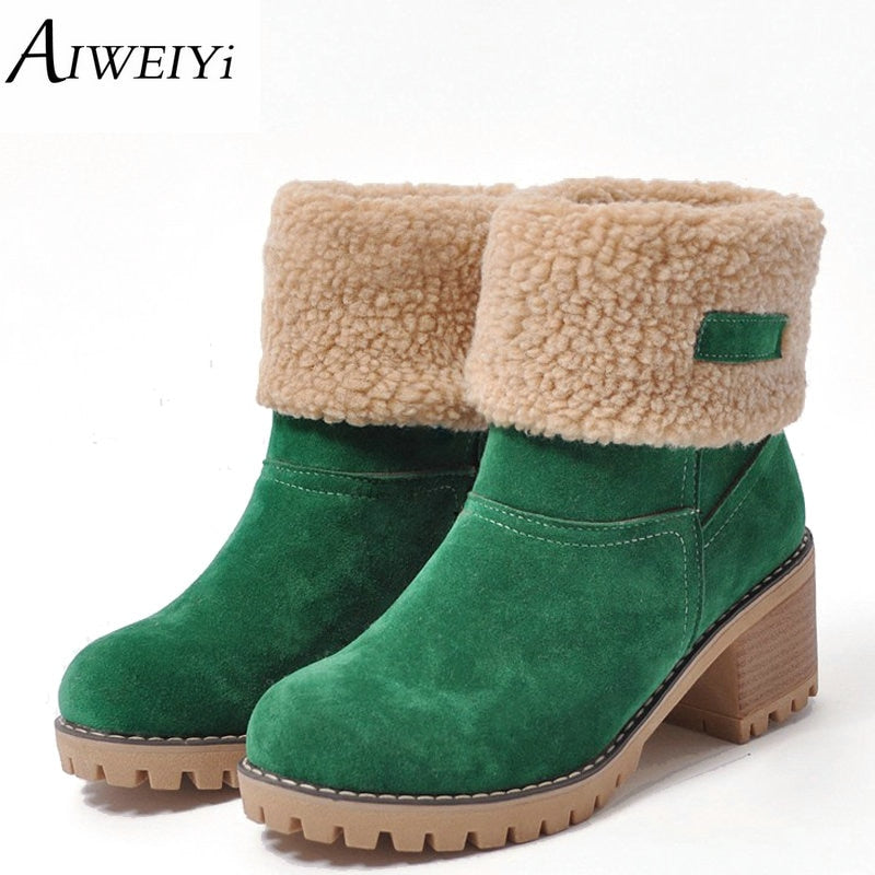 habazoo - Women Boots Female Winter Shoes Woman Fur Warm Snow Boots Fashion Square High Heels Ankle Boots Black Green Boots - Habazoo -