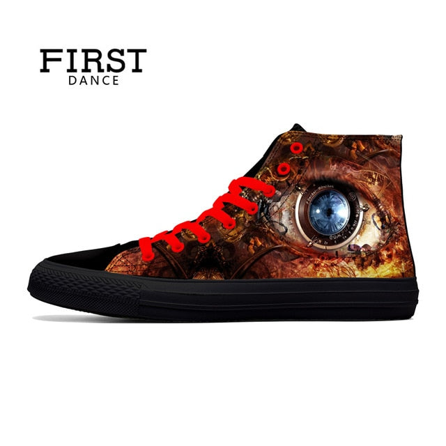 habazoo - Punk Nice Skull  Black Shoes Classic Canvas Men Casual Shoes Fashion High Top Shoes Men Printed Canvas Sneakers - Habazoo -