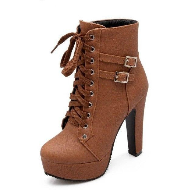 habazoo - Big &small Size 30-50 Autumn Winter Ankle Boots shoes Women's short Boots lace up High Heel(12CM) C-3 - Habazoo -