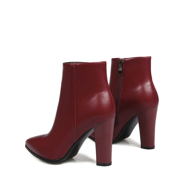 habazoo - Women Boots Sexy Pointed Toe Slim Look Chunky Square High Heel Ankle Boots Out Door Elegant Ladies Boots Size 34-43 - Habazoo -