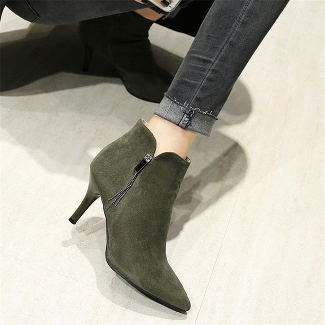 habazoo - Spring Autumn Winter Women Ankle Boots High Heels Woman Short Boots botas High Quality Plus Size 33 - 40 41 42 43 44 45 46 - Habazoo -
