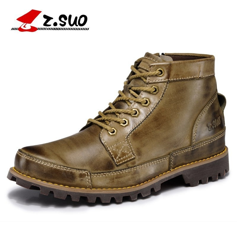 Men's Genuine Leather Working Mountain Shoes Vintage - Habazoo