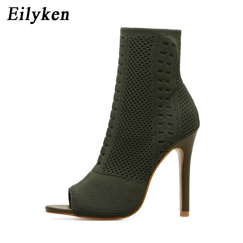 habazoo - Womens Boots Green Elastic Knit Sock Boots Ladies Open Toe High Heels Fashion Kardashian Ankle Boots Women Pumps - Habazoo -