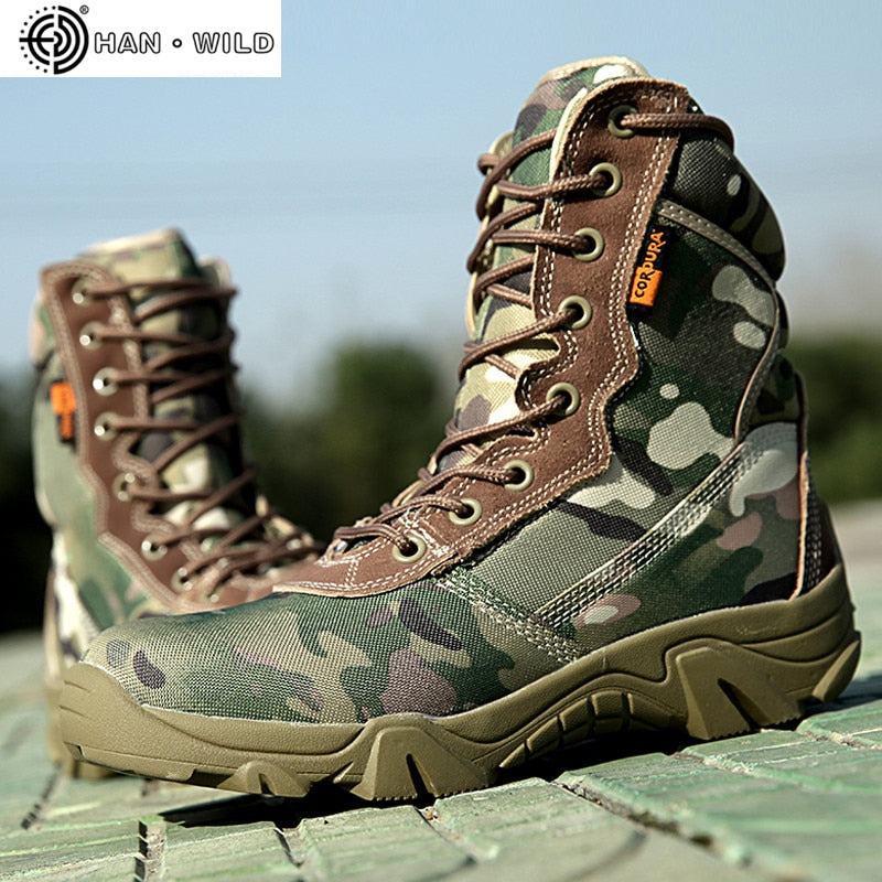 Military Tactical High Top Canvas Round Toe Zipper Lace Up Combat - Habazoo
