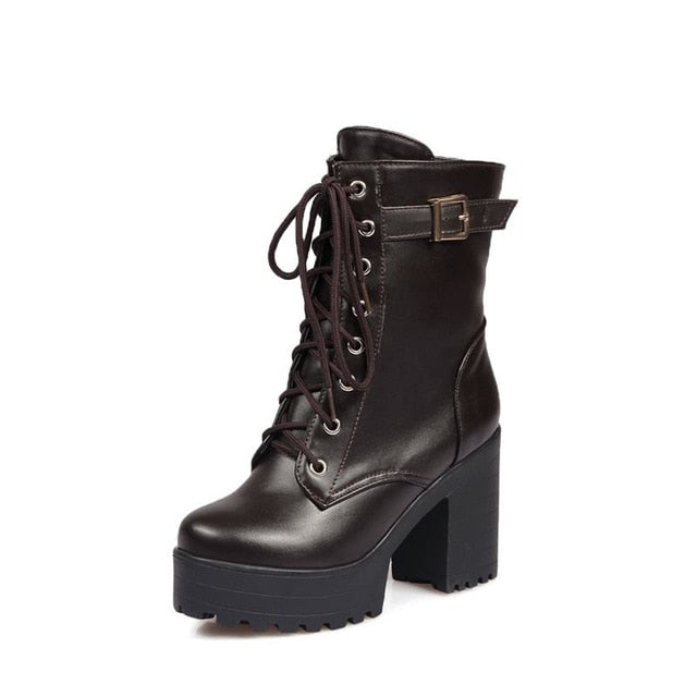 habazoo - Plus size 34-45 thick High heels platform ankle boots 2018 new women boots fashion lace up autumn riding combat boots - Habazoo -